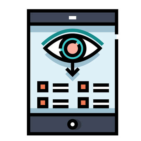 Phone screen with eye icon and down arrow vector illustration in line color design