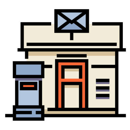 Post office and a mailbox vector illustration in line color design