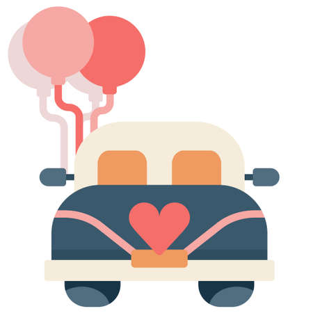Wedding car with a balloons vector illustration in flat color design