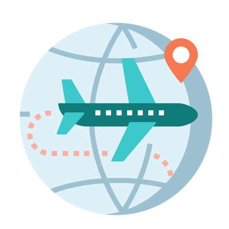 World icon with airplane and pinpoint vector illustration in flat color design Illustration