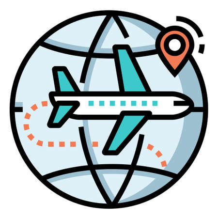 World icon with airplane and pinpoint vector illustration in line color design