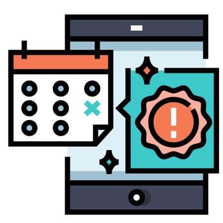 Phone screen with a calender vector illustration in line color design Ilustração