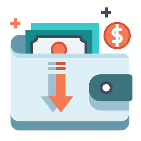 Wallet and money with down arrow vector illustration in flat color design