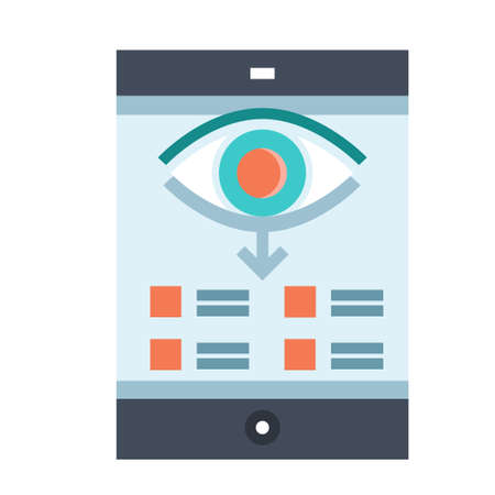 Phone screen with eye icon and down arrow vector illustration in flat color design Ilustrace