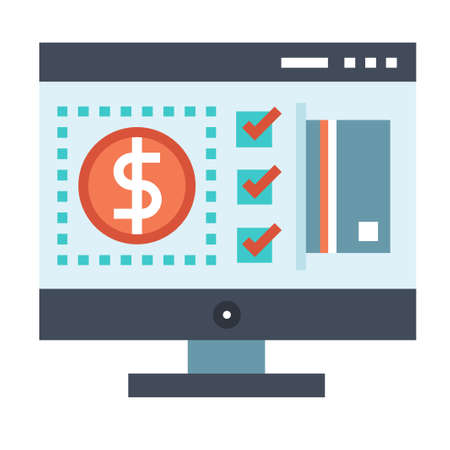Computer screen with money and tick mark icon vector illustration in flat color design