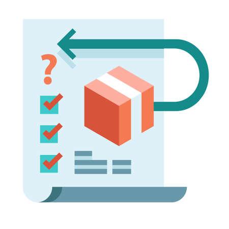 Kastensymbol mit Pfeil und Häkchen auf einer Papiervektorillustration in flachem Farbdesign Vektorgrafik