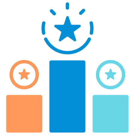 Podium award icon in flat color design vector illustration