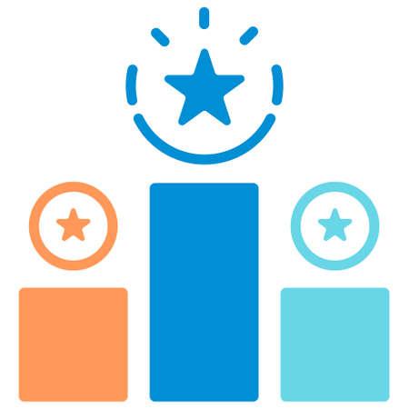 Podium Award-Symbol in flacher Farbdesign-Vektor-Illustration Vektorgrafik