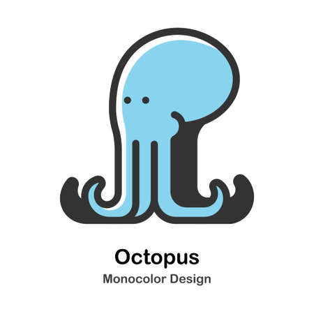 Octopus Monocolor vector illustration 일러스트