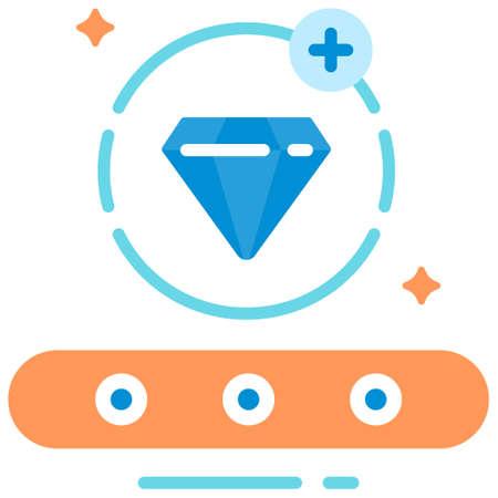 Blue diamond icon in flat color design vector illustration 向量圖像