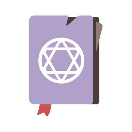 Purple spell book in flat color design vector illustration Illustration