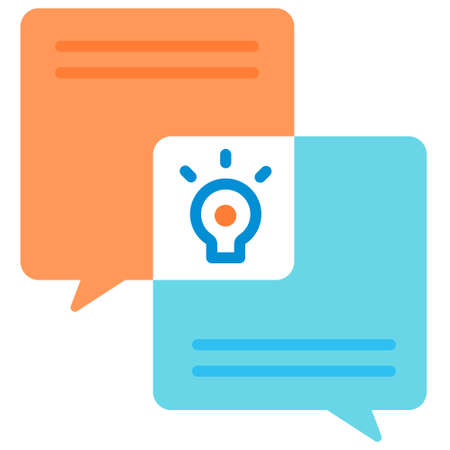 Idea discussion icon in flat color design vector illustration