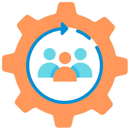 Employee inside gear icon in flat color design vector illustration