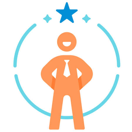 Confidence salaryman icon in flat color design vector illustration