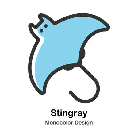 Stingray Monocolor vector illustration 일러스트