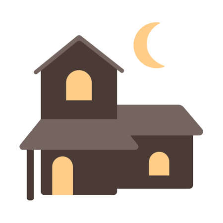Two story house icon in flat color design vector illustration