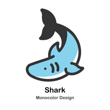 Shark Monocolor vector illustration 일러스트