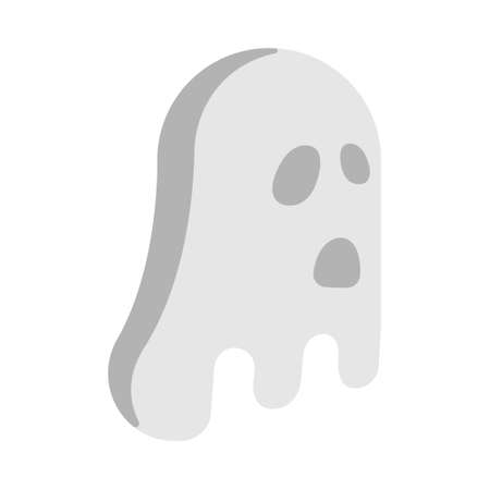 White scary ghost icon in flat color design vector illustration Hình minh hoạ