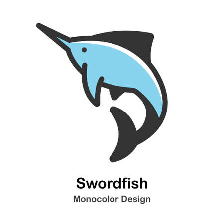 Swordfish Monocolor vector illustration Illustration