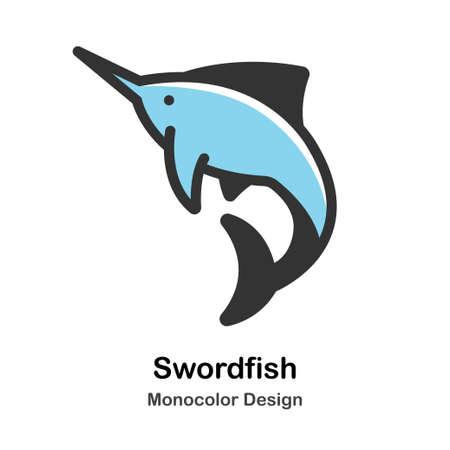 Swordfish Monocolor vector illustration Иллюстрация