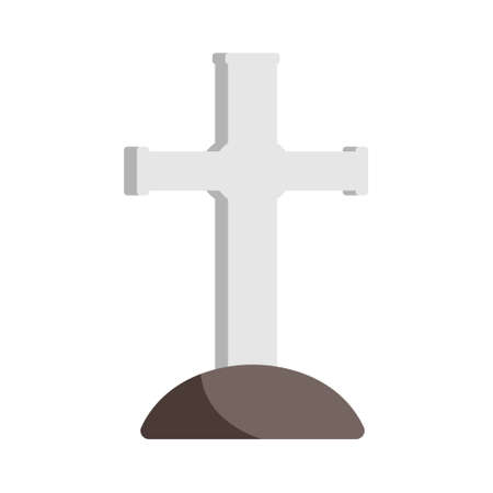 Grave with cross icon in flat color design vector illustration