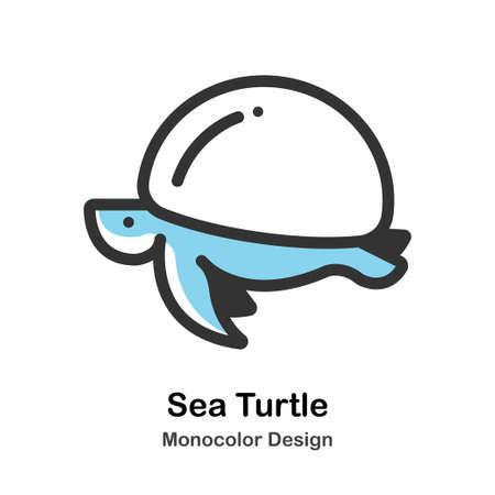 Sea Turtle Icon In Monocolor Design Vector Illustration