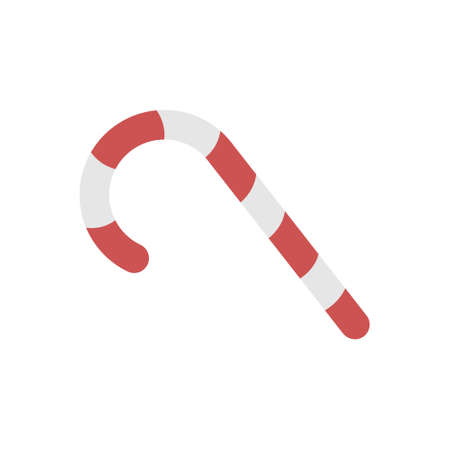 Candy cane icon in flat color design vector illustration