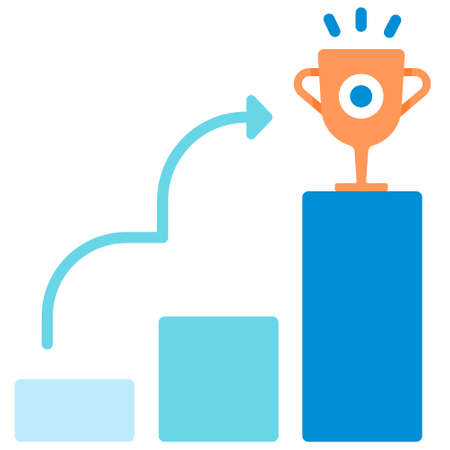 Growing chart with trophy icon in flat color design vector illustration