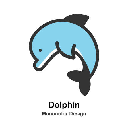 Dolphin Monocolor vector illustration 일러스트
