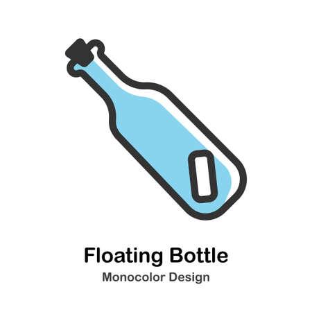 Floating Bottle with letter inside Monocolor vector illustration Çizim