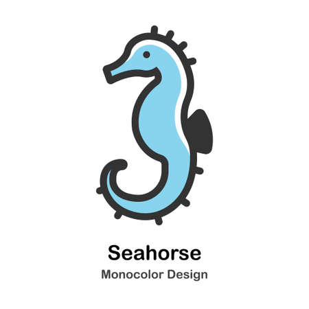 Seahorse Monocolor vector illustration 일러스트
