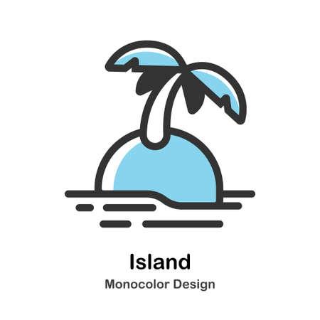 Island Icon In Monocolor Design Vector Illustration 일러스트