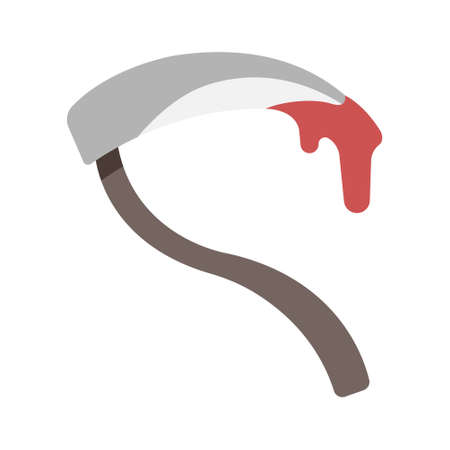 Bloody sickle in flat color design vector illustration Иллюстрация