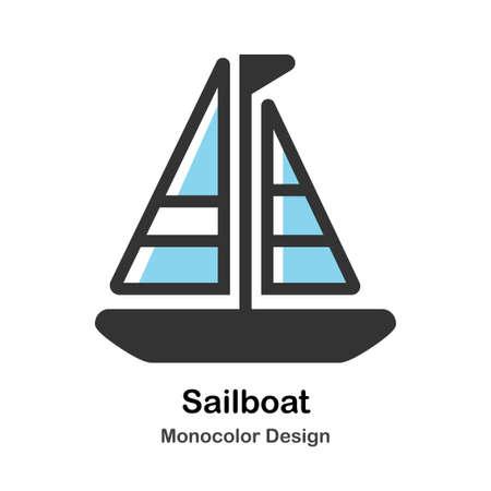 Sailboat Monocolor vector illustration