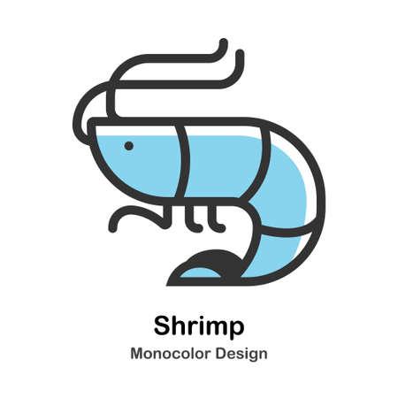 Shrimp Monocolor vector illustration