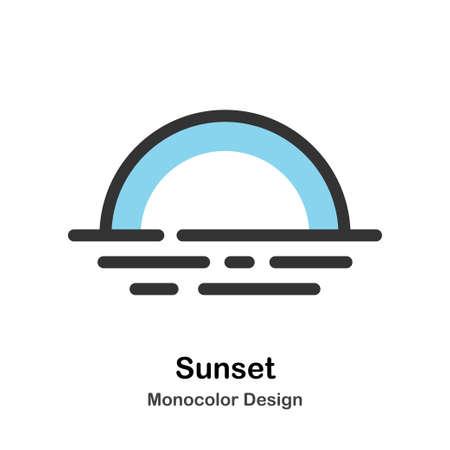 Sunset behind the sea Monocolor vector illustration 일러스트