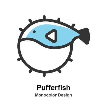 Pufferfish Monocolor vector illustration 일러스트