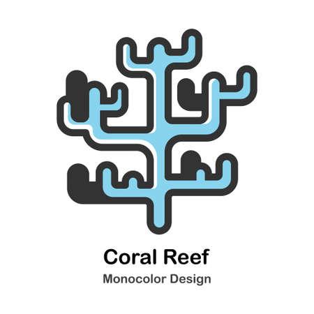 Coral Reef Monocolor vector illustration 일러스트