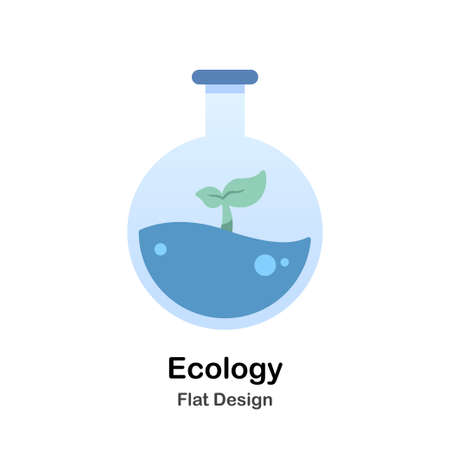 Chemistry flask with sprout Flat Vector Illustration