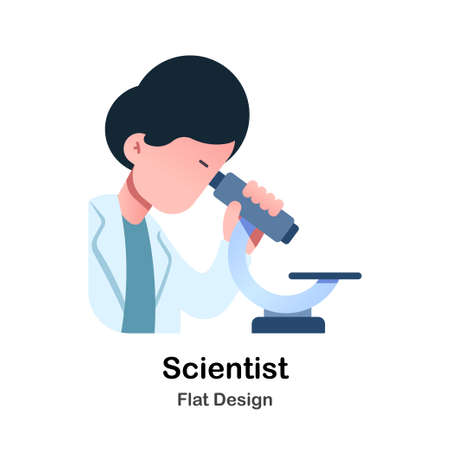 Scientist and microscope Flat Vector Illustration