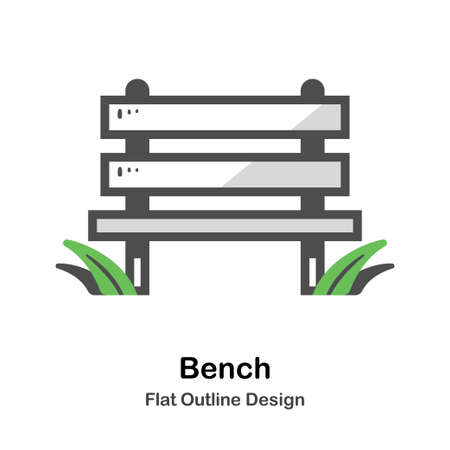 Wooden bench in the park flat outline icon