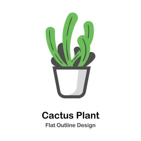 Cactus in the pot in outline flat color design vector illustration Ilustração