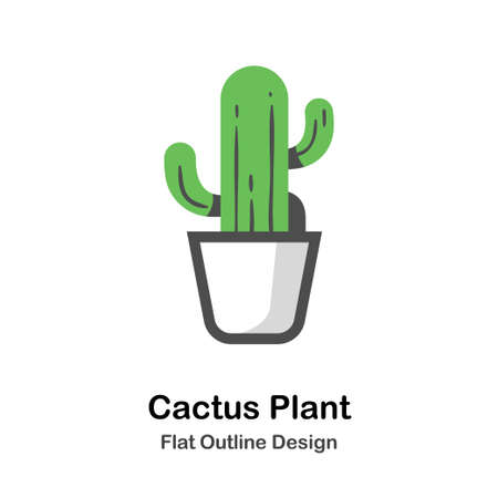 Cactus in the pot in outline flat color design vector illustration Ilustrace