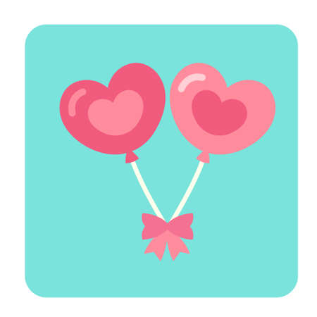Hearts ballon with pink ribbon icon in flat color design vector illustration Illustration