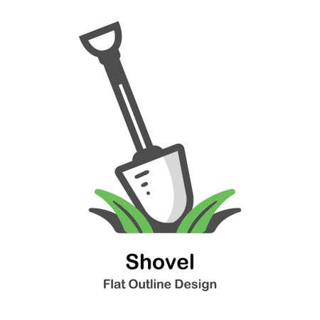 Shovel flat outline icon Çizim