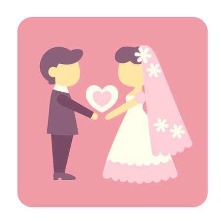 Braut und Bräutigamikone in der flachen Farbdesign-Vektorillustration