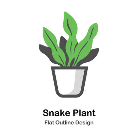 Plant in the pot flat outline icon Illustration