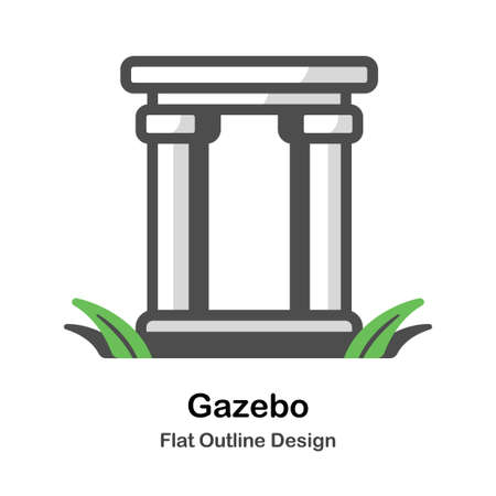 Gazebo flat outline icon 向量圖像