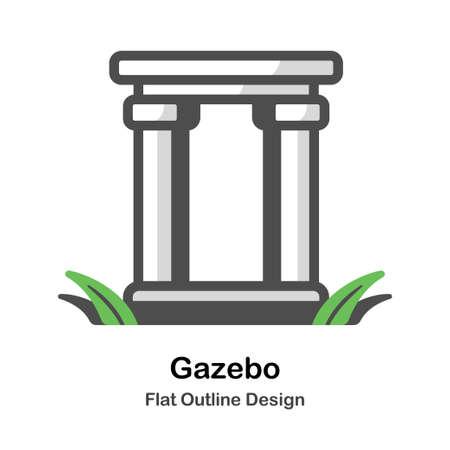 Gazebo flat outline icon Illustration