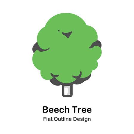Beech tree flat outline icon  イラスト・ベクター素材
